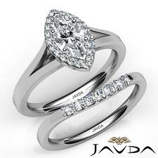 e1c582a643be 1.2ctw Split-Shank Novia Halo Marquesita Anillo de Compromiso Diamante GIA  H-SI1
