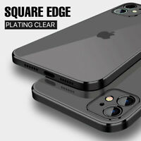 For iPhone 12 11 Pro Max X XS 8 7 Shockproof Plating Square Edge Soft Case Cover