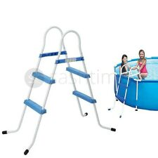 """More details for 2 step blue pool ladder steps for inflatable paddling swimming pool outdoor 33"""""""