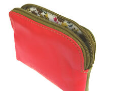 Multi Coloured Leather Golunski Zip Coin & Credit Card Purse Olive/Orange - 726