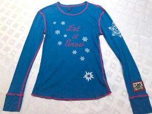 Luxury Alp-N-Rock Let it Snow Oh deer blue crew top teenage girl 2 S 10-14y.old