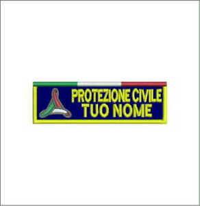 [Patch] PROTEZIONE CIVILE TUO NOME A STRAPPO cm 10x3 toppa ricamata ricamo -965