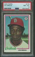 1978 TOPPS LOU BROCK #170 GRADED PSA 8 NM-MT! ST LOUIS CARDINALS