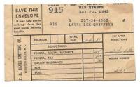 VINTAGE 1945 WINSTON-SALEM, NC PAY ENVELOPE! P H HANES KNITTING CO! $24 FOR 44HR
