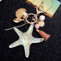 Fashion Starfish Pearl Shell Key Chain Crystal Pendant Keyring Keychain Keyfob