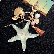 Fashion Starfish Pearl Shell Key Chain Crystal Pendant Keyring Keychain Keyfob