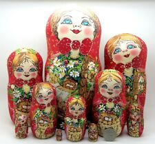 Pyrography BIG Babushka 10 Mamayeva Russian nesting dolls GOLD RED HAND PAINTED