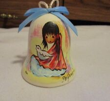 "Degrazia Handpainted Pottery Bell w/ Crystal Clanger Girl w/Dove 3"" T 1983 LtEd"