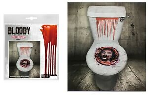 Bloody Halloween Toilet Seat Grabber Sticker Cover Scary Horror Party Decoration