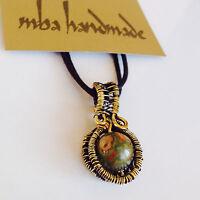 Natural Jasper Crystal Pendant Brass Wire Wrapped Artisan Gemstone Jewelry