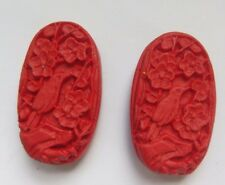 2 Red Oval Carved Bird Cinnabar Lacquerware Bead, 32x18mm, Jewellery/Bead Crafts