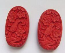 2 Rouge Ovale Sculpté OISEAU cinabre Laque Bead, 32x18mm, bijoux/Bead Crafts