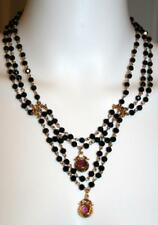 Nordstrom Rack Necklace 3-Strand Black Beads 2 Mauve Beads Goldtone Chain NWT