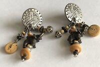 Vintage Tribal Silver Tone Elephant & Stone Bead Dangle Drop Pierced Earrings