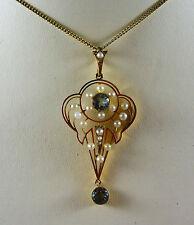 WONDERFUL ANTIQUE EDWARDIAN 15CT K YELLOW GOLD AQUAMARINE & SEED PEARL PENDANT