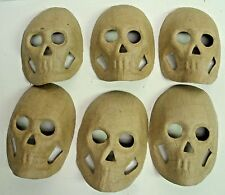 Lot of 6 Ready to Paint - Skull mask - Paper Mache - Halloween decor