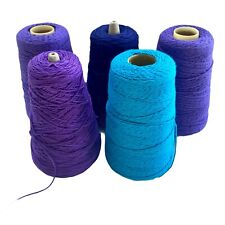 Yarn Spools Purple Turquoise Navy Blue Lot Of 5 Cotton Crochet String Fine Gauge