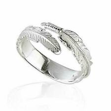 Solid 925 Sterling Silver Angel Wing Feather Adjustable Ring Size L-r Gift Boxed