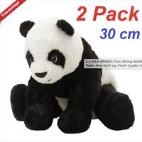 2 IKEA Toys Sitting Wildlife Panda Teddy Bear Soft Plush Cuddly Toy Kids Branded