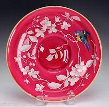 Thomas Webb Peachblow Glass Bowl Overlay Painted Enameled Bird Flowers