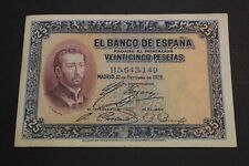 1926 SPAIN 25 PESETAS FR. XAVIER BANKNOTE PICK#71a VF