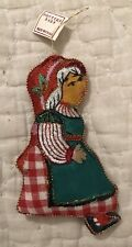 """Vintage Pottery Barn Mrs Claus 5"""" Embroidered Puffy Fabric Christmas Ornament"""