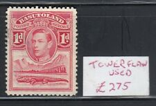 """BASUTOLAND 1938 SET SG 19a 1d SCARLET, """"TOWER FLAW """" ( R.2/4 ) USED CAT $340.."""
