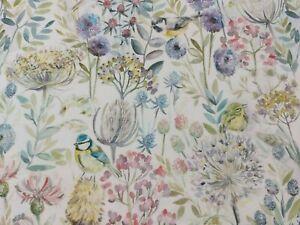 Voyage Maison Morning Chorus Watercolour Curtain Fabric white Background 150cm