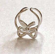 Silver Ear Cuff Wrap Conch Earring Non Pierced Boxed Ribbon Bow 925 Sterling