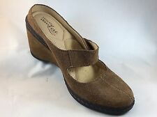 Strictly Comfort Beige Leather Maryjane Style Clogs Size 6M