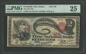"""FR390 #452 $2 1875 NAT'L """"LAZY DEUCE"""" FREEHOLD,NJ PMG 25 CHOICE VF+ WLM9668"""