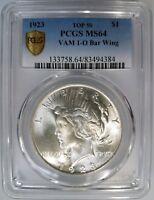 1923 Silver Peace Dollar PCGS MS 64 Vam 1O Bar Wing Top 50 Mint Error Coin
