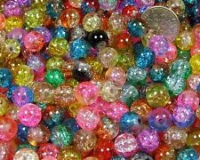 100Pcs 6MM Mixed Crackle Lampwork Glass Round Spacer Beads