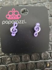 Musical Note Stud Earrings - Purple