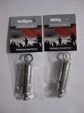 Set Of 2 WWI Trench Whistles - World War One. - Solid Metal Reproductions