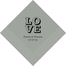 300 Stacked Love Personalized Printed Wedding Cocktail Napkins
