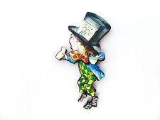 Party Wooden Brooch Pin Badge Alice In Wonderland Mad Hatter Tea