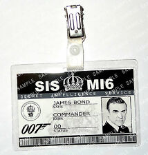 James Bond 007 ID Badge Sean Connery MI6 SI5 Prop Cosplay Fancy Dress Comic Con