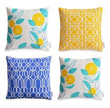 4 x Yellow Aqua Cushion Cover Set Modern FLORAL & GEOMETRIC throw pillows Cotton
