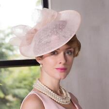 Women's Kentucky Derby Church Wedding Noble Dress linen feather Sinamay hat @SY