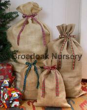 RUSTIC CHRISTMAS HESSIAN SACK Tartan Ribbon, Close Weave Jute Gift Bag, Stocking