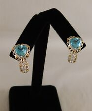 Electric Blue Topaz & Zircon EARRINGS 14K Gold & Platinum/Silver