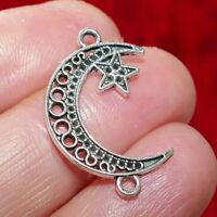 GC1228 4 Crescent Moon Charms Gold Tone With Ruby Red Enamel Pendant with Star