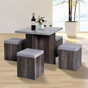 5 PC Dining Set Wooden Space-saving Storage Cushioned Ottoman Seats Square Table