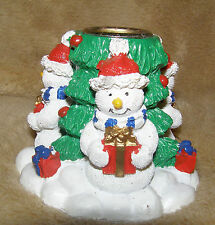 Snowman Christmas Three-Sided Taper Candle Holder Holiday Decorative Charming