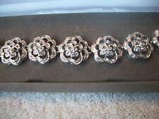 NOLAN MILLER Signed Bracelet Elegant Silvertone & Crystal Floral Great Gift