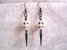 *SKULL BLACK SPIKE* White Turquoise Gemstone Gothic Earrings Halloween Gift Bag