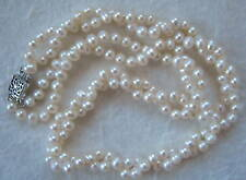"2-Strand Twisted White Cultured Pearl Necklace 17"" .925"