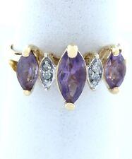 da donna 10K Oro Ametista Viola Diamante FEBRAIO anello