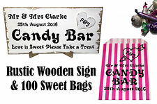 Personalised Wedding Candy Bar Sign and Bag Kit - Rustic Sign + 100 Sweet Bags